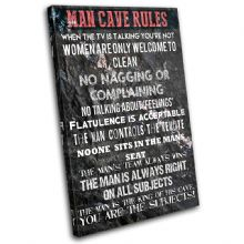 Man Cave House Rules Typography - 13-2373(00B)-SG32-PO